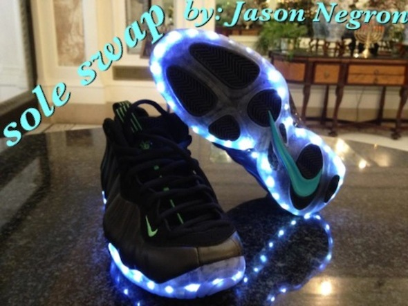 light up nike foamposite sole swap 3 Light Up Nike Air Foamposite Custom Shoes by Sole Swap
