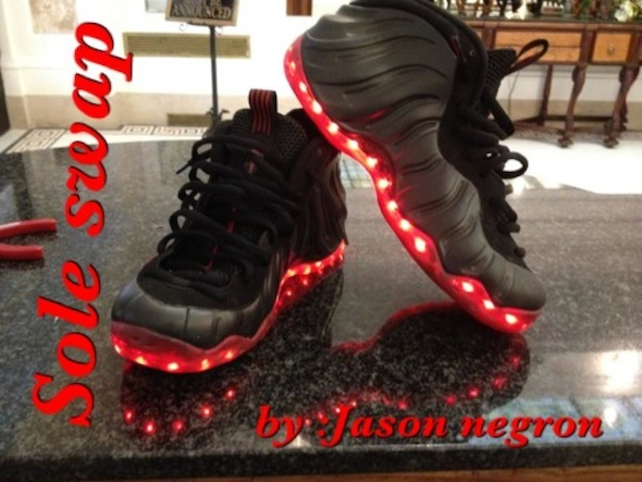 light up nike foamposite sole swap 6 Light Up Nike Air Foamposite Custom Shoes by Sole Swap