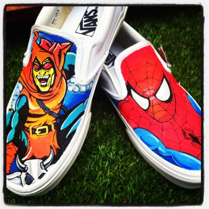 f8a7f9f201f1f4 Spiderman and Enemies Custom Vans Shoes by Off The Wall Art