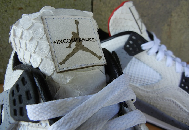 Incomparable White Python Air Jordan IV Cement Customs by JBF 6c3007810
