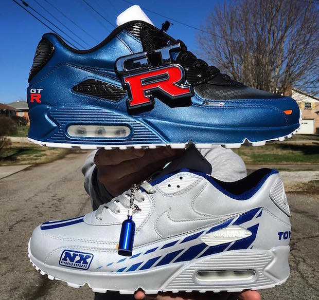 9877fd335b9375 Paul Walker Tribute Custom Nike Air Max 90s By Kenneth Cole Customs