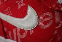 Supreme Louis Vuitton Jordan 1s Red Ribbon Recon