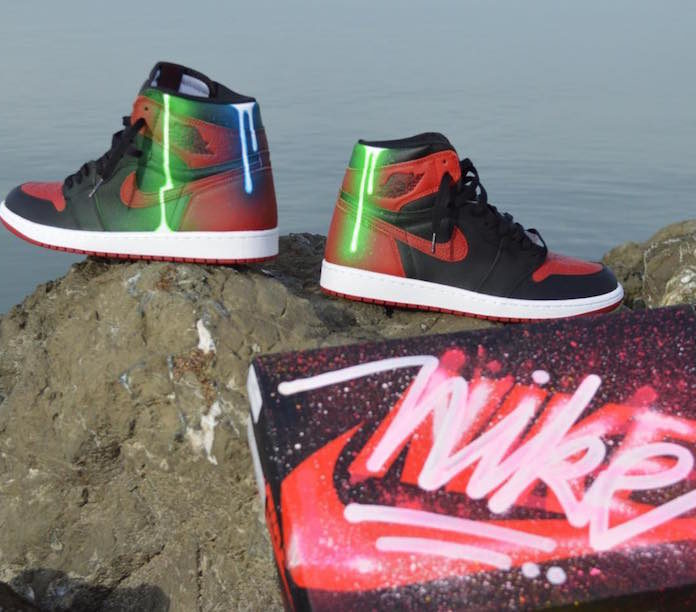 adamfu glowing drip graffiti custom Jordan 1