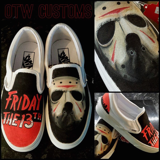 Friday The 13th Jason Custom Painted Vans Slipons OTW Customs
